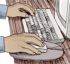 Figura con due mani che stanno usando la tastiera ed il mouse