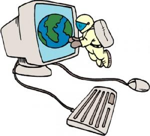 Astronauta che vola vicino allo schermo di un computer