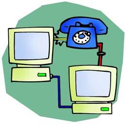 due computer collegati tramite telefono