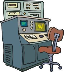 Disegno di un grande computer con una console che è grande come un armadio