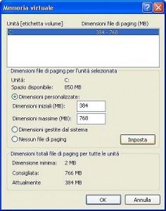 finestra delle proprietà della memoria virtuale