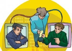 Disegno di una persona che è in mezzo a due schermi di computer dai quali spuntano due persone arrabbiate