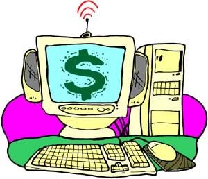 Disegno di un computer con sullo schermo un dollaro verde e con un'antenna che emette onde
