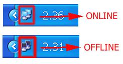 Evidenziata da una freccia rossa l'icona della rete quando è online