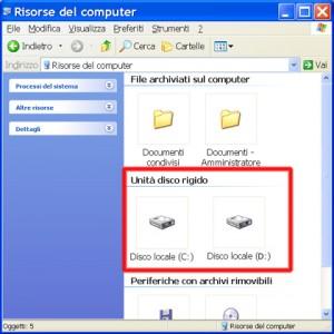 Schermata di Windows dove sono evidenziati 2 dischi
