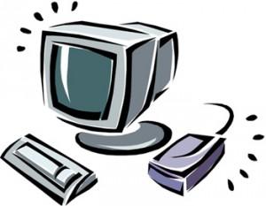 Disegno di un video, una tastiera e un mouse