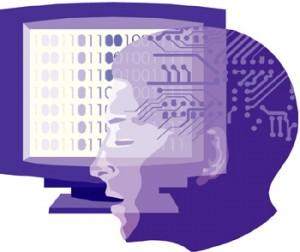 Schermo di computer con istruzioni e testa di uomo
