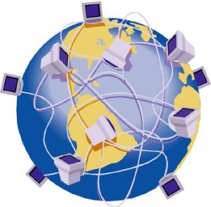 Mappamondo con sulla superfice tanti terminali connessi da fili