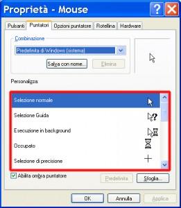 Schermata delle proprietà del mouse con evidenziati i vari tipi di puntatori