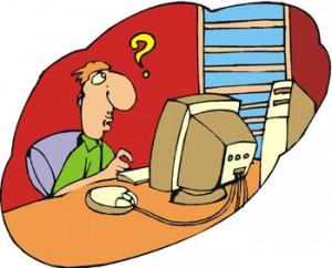 disegno di una persona che sta lavorando col computer con sulla sua testa un grande punto interrogativo