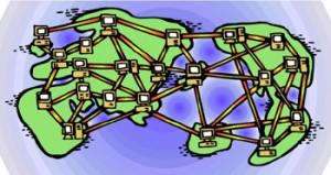 Disegno di tutti i continenti con tanti computer tutti interconnessi traloro
