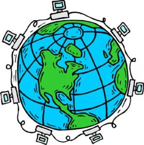 Mappamondo circondato da computer collegati tra loro