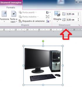 Figura di un computer che sta per essere ridimensionata usando gli Strumenti immagine di Word