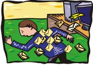 Disegno di persona che scappa inseguito da tantissime buste da lettera