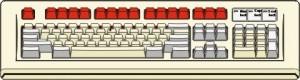 Tastiera con tasti funzione rossi