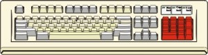 Figura di tastiera con i tasti del tastierino numerico rossi