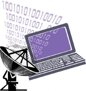 Figura con computer, codice binario e antenna