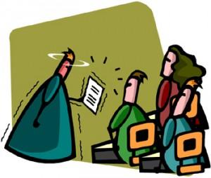 Disegno di un aula con un docente che ha in mano un certificato e spiega agli allievi seduti sui banchi