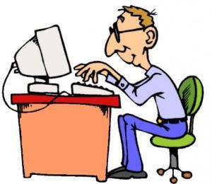 Disegno di persona seduta che sta lavorando al computer posto su una scrivania