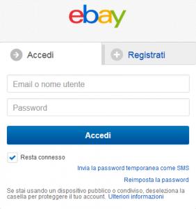 schermata di accesso al servizio ebay