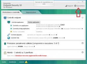 finestra di un antivirus con la funzione Quarantena la scheda
