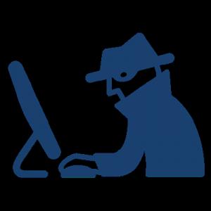 disegno di criminale al computer