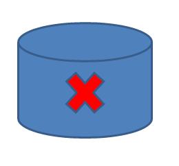 disegno di un disco magnetico con croce di colore rosso (blocco)